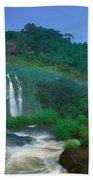 Panoramic View Of Iguazu Waterfalls Beach Towel