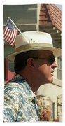 Parade Watcher Flag In Hat July 4th Prescott Arizona 2002 Beach Towel