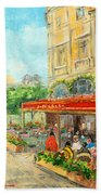 Paris Cafe Beach Towel