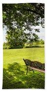 Park Bench Under Tree Beach Towel by Elena Elisseeva