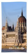 Parliament Building In Budapest Beach Towel