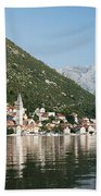 Perast In Kotor Bay Montenegro Beach Towel