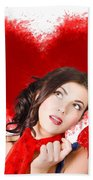 Photo Of Romantic Woman Holding Heart Shape Candy Beach Towel
