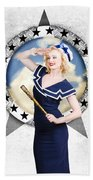Pin-up Sailor Girl On Boat. Holiday Abroad Beach Towel