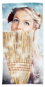 Pin-up Woman Cleaning Up In Cold Blue Winter Snow Beach Towel