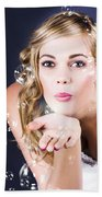 Playful Bride Blowing Bubbles At Wedding Reception Beach Towel