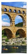 Pont Du Gard In Southern France Beach Towel