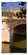 Pont Neuf Over The Seine River Paris Beach Towel
