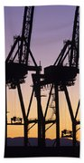 Port Of Seattle Cranes Silhouetted Beach Towel