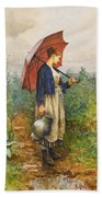 Portrait Of A Woman With Umbrella Gathering Water Beach Towel