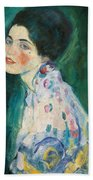 Portrait Of A Young Woman Beach Towel by Gustav Klimt