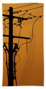 Power Line Sunset Beach Towel