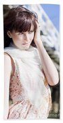 Pretty Young Fashion Model Beach Towel