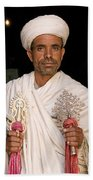 Priest At Ancient Rock Hewn Churches Of Lalibela Ethiopia Beach Towel