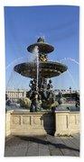 Public Fountain At The Place De La Concorde In Paris France Beach Towel
