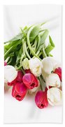 Red And White Tulips Beach Towel by Elena Elisseeva