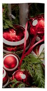 Red Christmas Balls Beach Towel