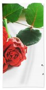 Red Fresh Roses On White Beach Towel