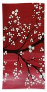 Red Japanese Cherry Blossom Beach Towel