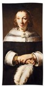 Rembrandt's Portrait Of A Lady With An Ostrich Feather Fan Beach Towel