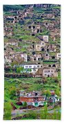 Residents Moved From Homes In Cliffs To Homes Below In 1951 In Cappadocia-turkey Beach Towel