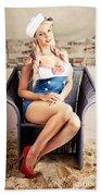 Retro Blond Beach Pinup Model With Elegant Look Beach Sheet