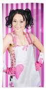 Retro Cleaning Service Maid With Smile Beach Towel