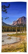 River And Mountains In Jasper Beach Towel