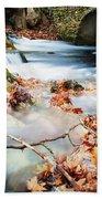 River Flowing Under Stone Bridge Beach Towel