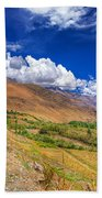 Road And Mountains Of Leh Ladakh Jammu And Kashmir India Beach Towel