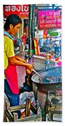 Roasting Chestnuts In China Town In Bangkok-thailand  Beach Towel