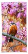 Robin In A Red Bud Tree Beach Towel