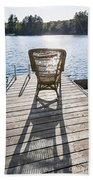 Rocking Chair On Dock Beach Sheet