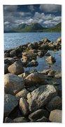 Rocky Shoreline In Acadia National Park Beach Towel