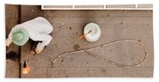 Roofer Using Propane Torch To Repair Flat Roof Beach Towel