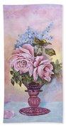 Roses In Ruby Vase Beach Towel
