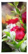 Roses In The Rain Beach Towel