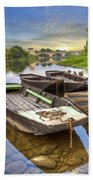 Rowboats On The French Canals Beach Towel by Debra and Dave Vanderlaan