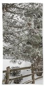Rural Winter Scene With Fence Beach Towel