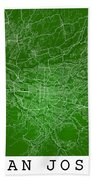 San Jose Street Map - San Jose Costa Rica Road Map Art On Colore Beach Towel