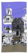 San Xavier Mission Sketched By Art Students C. 1930 Tucson Arizona Beach Towel