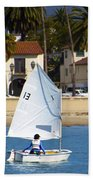 Santa Barbara Harbor Yacht Race Beach Towel
