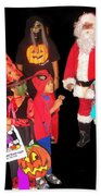 Santa Trick Or Treaters Halloween Party Casa Grande Arizona 2005 Beach Towel