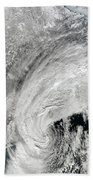 Satellite View Of A Large Noreaster Beach Towel