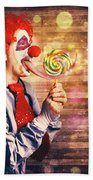 Scary Circus Clown At Horror Birthday Party Beach Towel