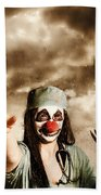 Scary Clown Doctor Throwing Knives Outdoors Beach Towel