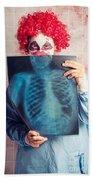 Scary Clown Peeking Behind X-ray. Funny Bones Beach Towel