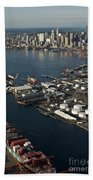 Seattle Skyline And South Industrial Area Beach Towel