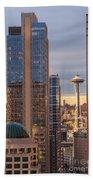 Seattle Space Needle Golden Sunset Light Beach Towel