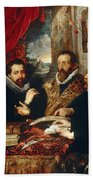 Selfportrait With Brother Philipp Justus Lipsius And Another Scholar Beach Towel